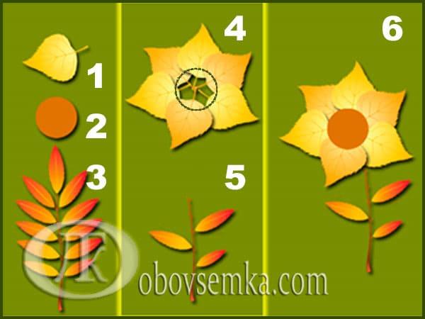 аппликация из листьев цветок