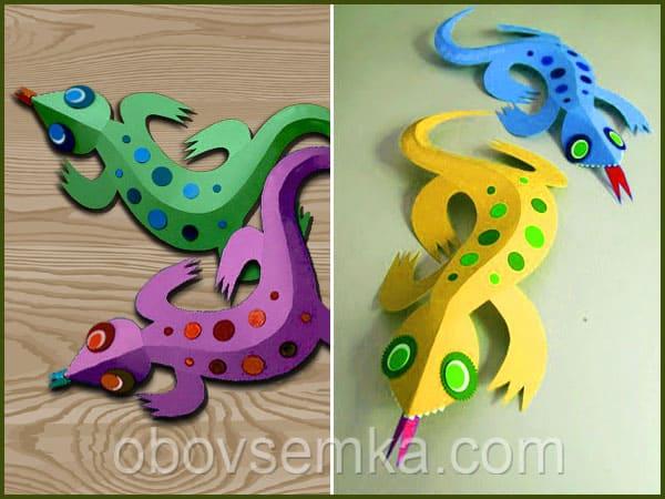 3D-ящерица из картона и бумаги