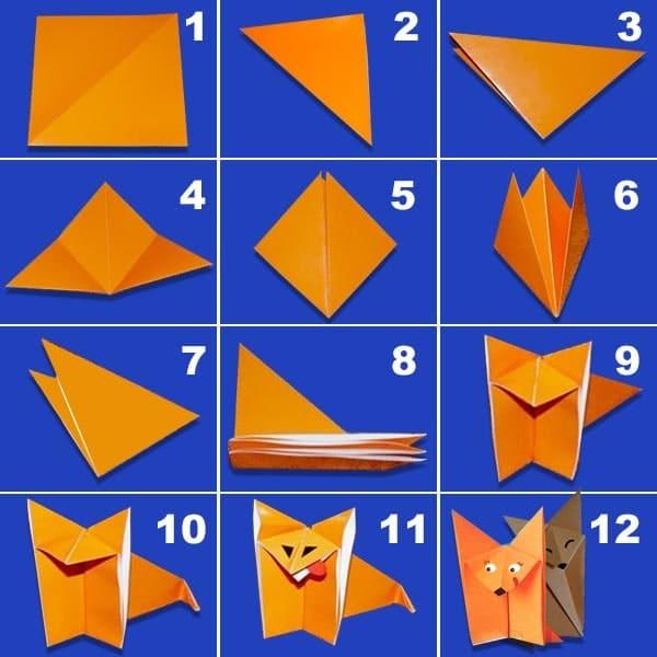 схема создания оригами лисенок
